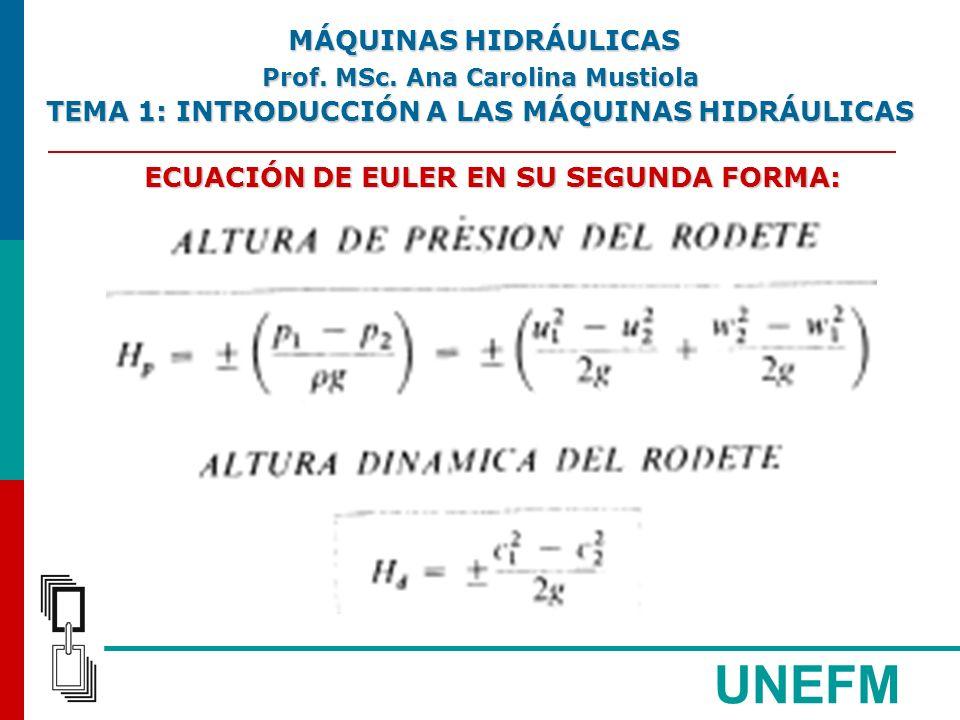 UNEFM ECUACIÓN DE EULER EN SU SEGUNDA FORMA: MÁQUINAS HIDRÁULICAS MÁQUINAS HIDRÁULICAS Prof.