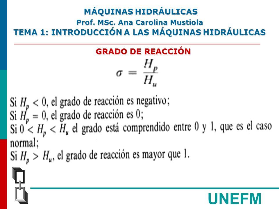 UNEFM GRADO DE REACCIÓN MÁQUINAS HIDRÁULICAS MÁQUINAS HIDRÁULICAS Prof.
