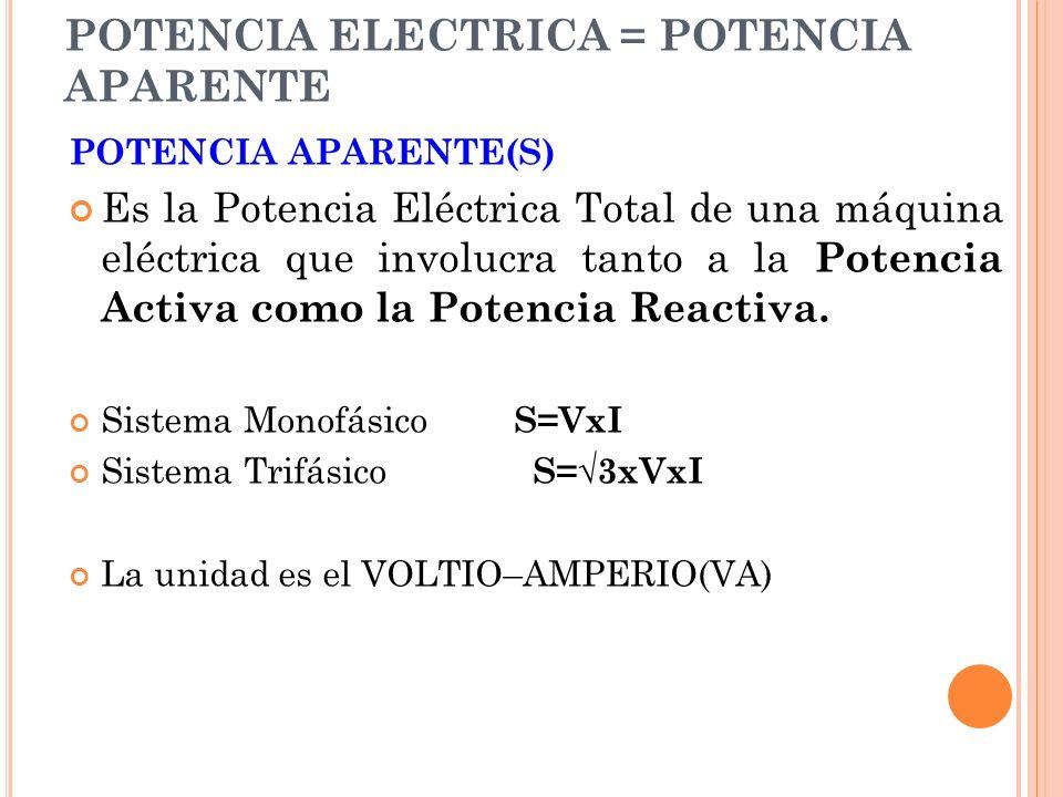 POTENCIA ELECTRICA = POTENCIA APARENTE POTENCIA APARENTE(S) Es la Potencia Eléctrica Total de una máquina eléctrica que involucra tanto a la Potencia Activa como la Potencia Reactiva.