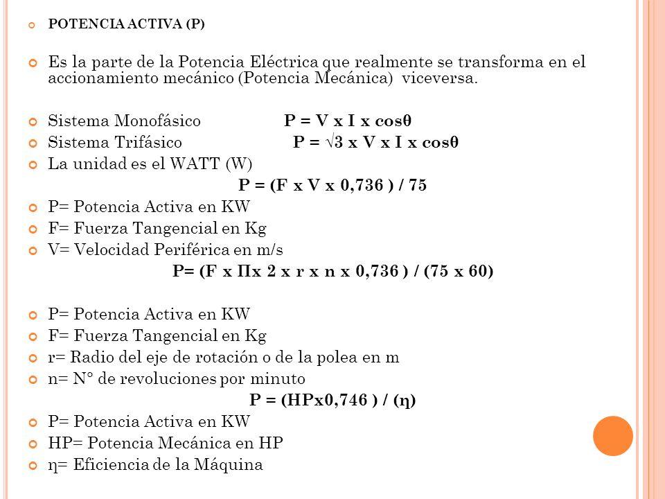 POTENCIA ACTIVA (P) Es la parte de la Potencia Eléctrica que realmente se transforma en el accionamiento mecánico (Potencia Mecánica) viceversa.