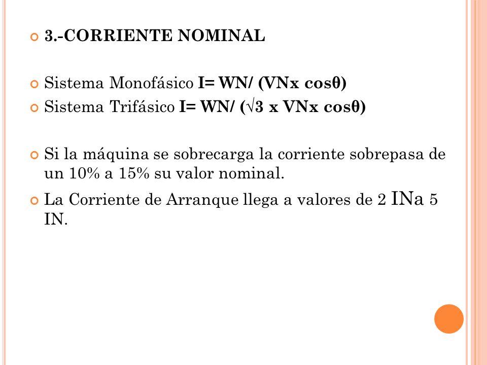 3.-CORRIENTE NOMINAL Sistema Monofásico I= WN/ (VNx cosθ) Sistema Trifásico I= WN/ (3 x VNx cosθ) Si la máquina se sobrecarga la corriente sobrepasa de un 10% a 15% su valor nominal.