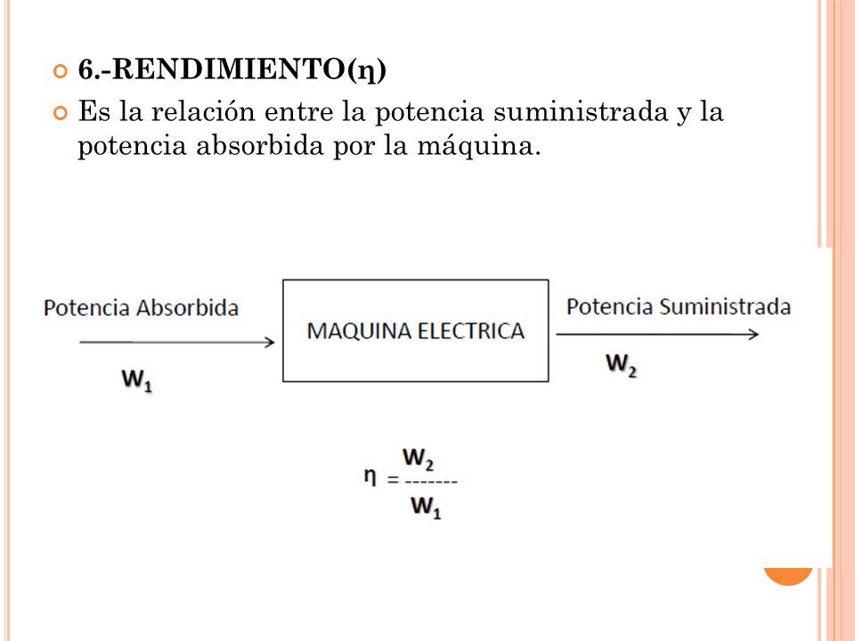 6.-RENDIMIENTO(η) Es la relación entre la potencia suministrada y la potencia absorbida por la máquina.