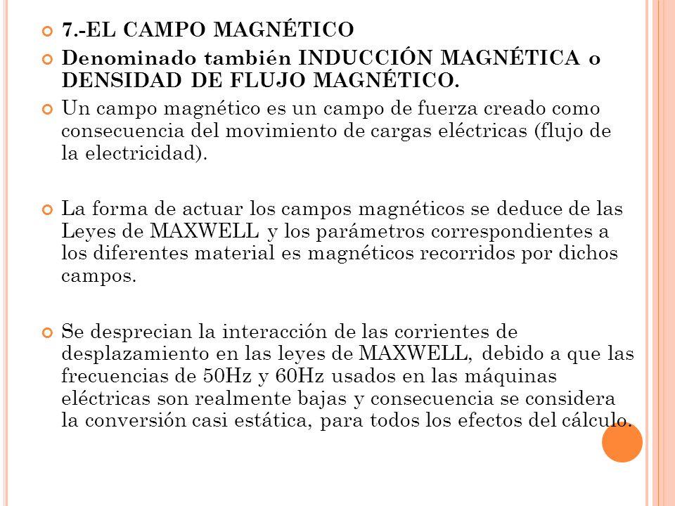 7.-EL CAMPO MAGNÉTICO Denominado también INDUCCIÓN MAGNÉTICA o DENSIDAD DE FLUJO MAGNÉTICO. Un campo magnético es un campo de fuerza creado como conse