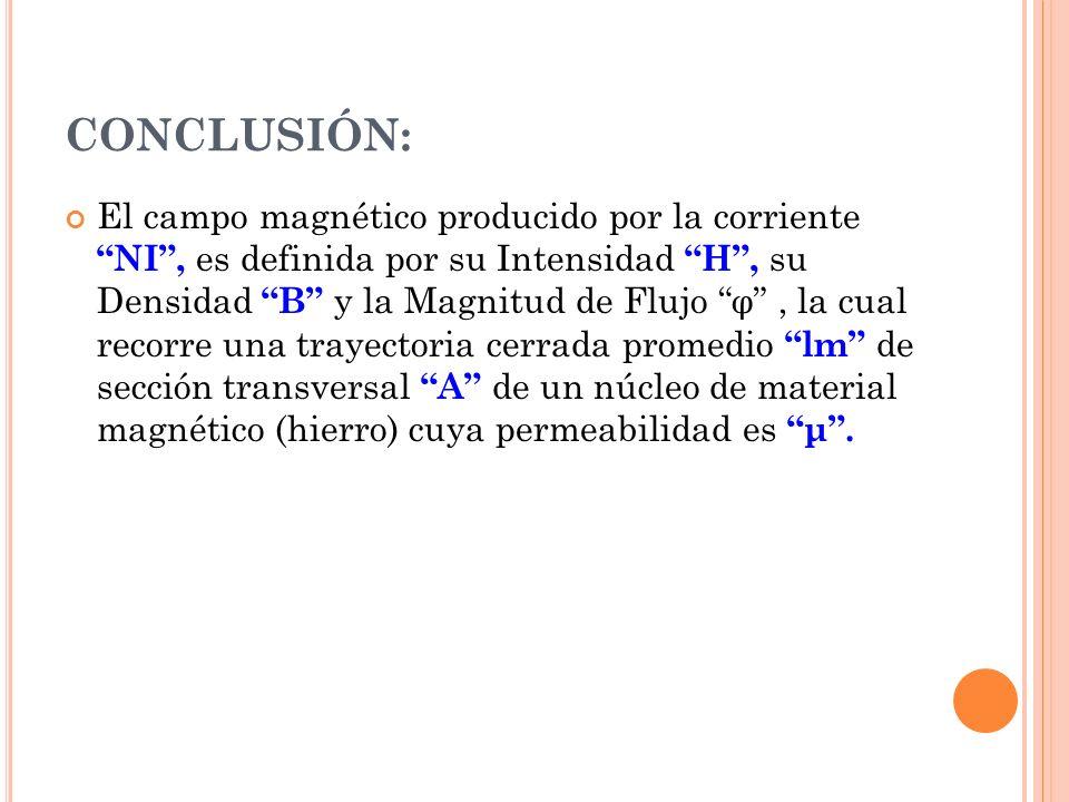 CONCLUSIÓN: El campo magnético producido por la corriente NI, es definida por su Intensidad H, su Densidad B y la Magnitud de Flujo φ, la cual recorre una trayectoria cerrada promedio lm de sección transversal A de un núcleo de material magnético (hierro) cuya permeabilidad es μ.