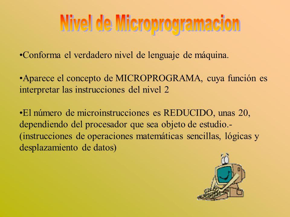 Conforma el verdadero nivel de lenguaje de máquina. Aparece el concepto de MICROPROGRAMA, cuya función es interpretar las instrucciones del nivel 2 El