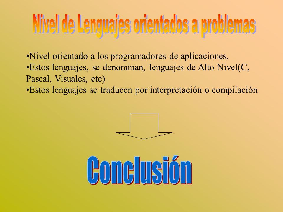 Nivel orientado a los programadores de aplicaciones. Estos lenguajes, se denominan, lenguajes de Alto Nivel(C, Pascal, Visuales, etc) Estos lenguajes