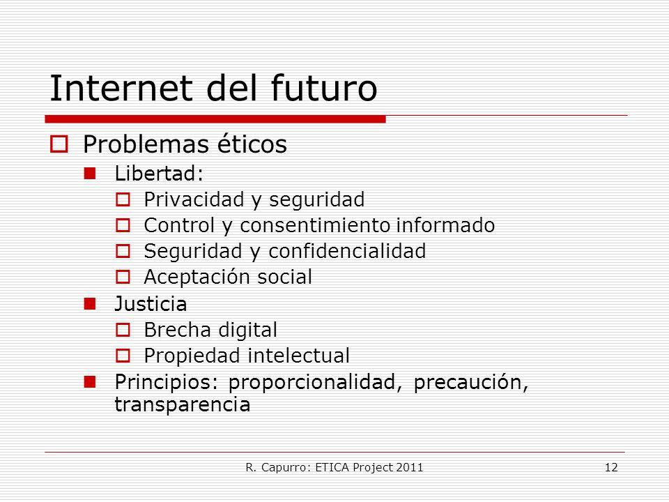 R. Capurro: ETICA Project 201112 Internet del futuro Problemas éticos Libertad: Privacidad y seguridad Control y consentimiento informado Seguridad y
