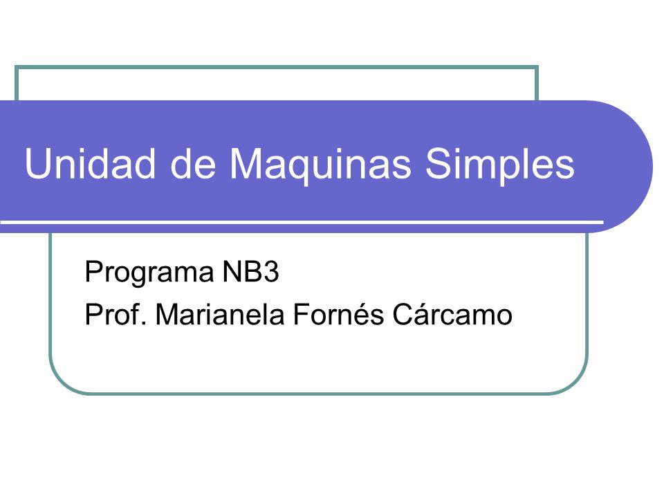 Unidad de Maquinas Simples Programa NB3 Prof. Marianela Fornés Cárcamo