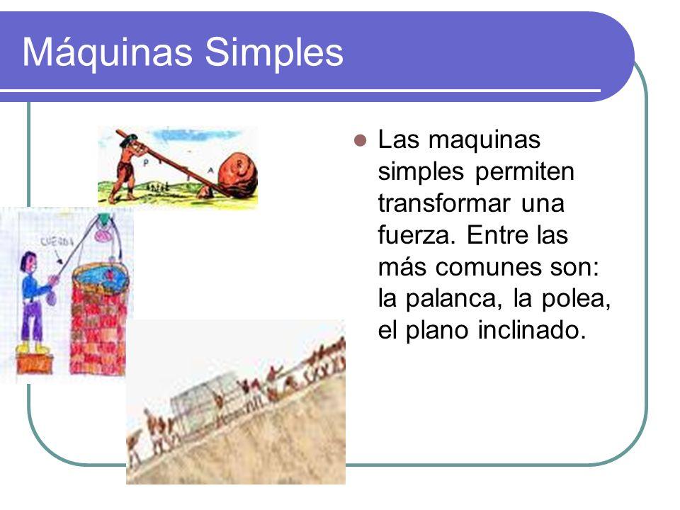 Máquinas Simples Las maquinas simples permiten transformar una fuerza. Entre las más comunes son: la palanca, la polea, el plano inclinado.