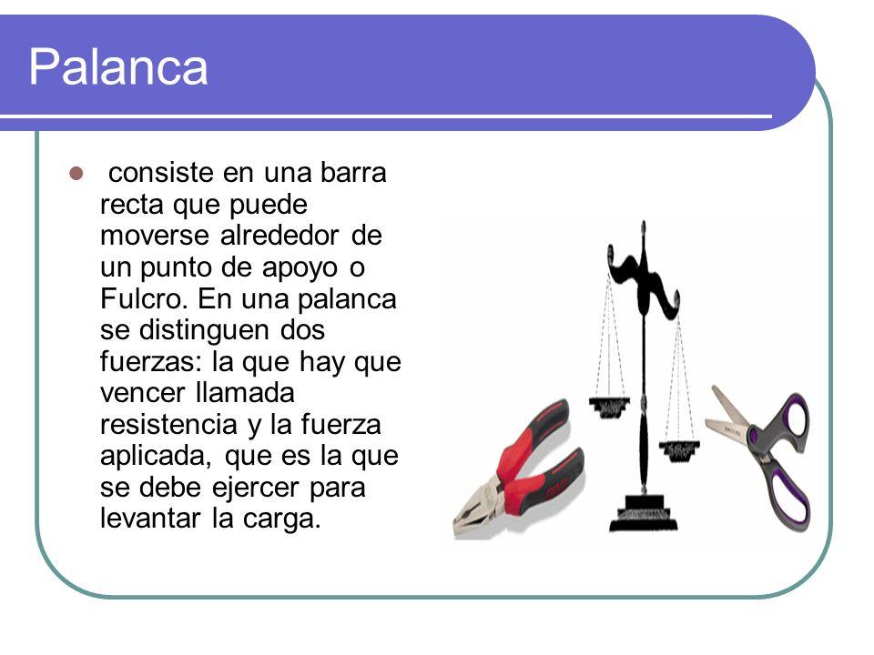 Palanca consiste en una barra recta que puede moverse alrededor de un punto de apoyo o Fulcro. En una palanca se distinguen dos fuerzas: la que hay qu