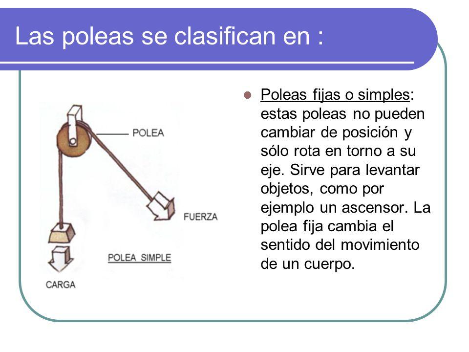 Las poleas se clasifican en : Poleas fijas o simples: estas poleas no pueden cambiar de posición y sólo rota en torno a su eje. Sirve para levantar ob