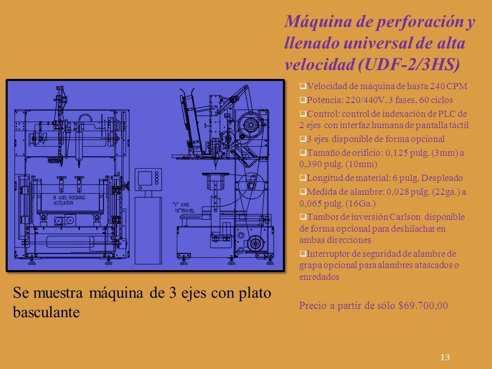 Máquina de perforación y llenado universal de alta velocidad (UDF-2/3HS) Velocidad de máquina de hasta 240 CPM Potencia: 220/440V, 3 fases, 60 ciclos