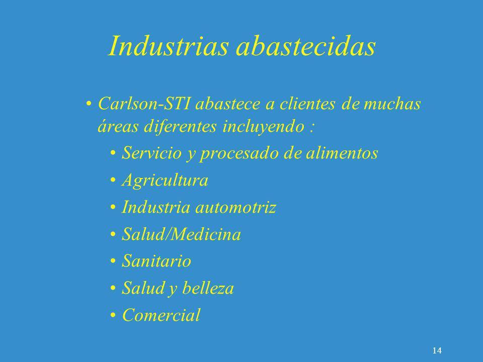 Industrias abastecidas Carlson-STI abastece a clientes de muchas áreas diferentes incluyendo : Servicio y procesado de alimentos Agricultura Industria