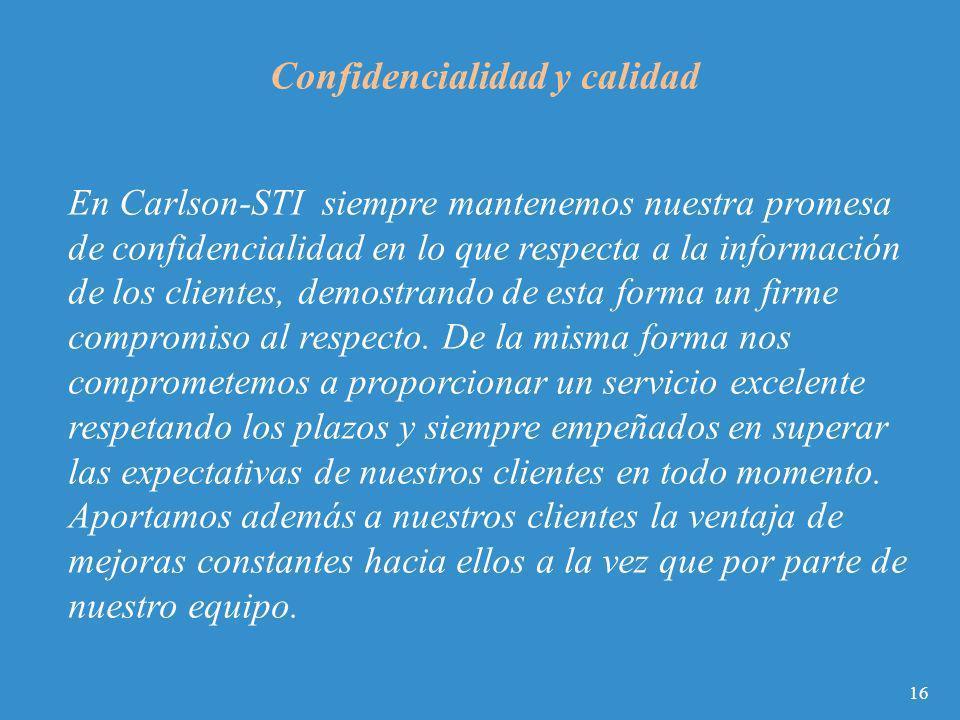 En Carlson-STI siempre mantenemos nuestra promesa de confidencialidad en lo que respecta a la información de los clientes, demostrando de esta forma u