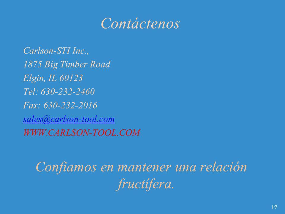 Contáctenos Carlson-STI Inc., 1875 Big Timber Road Elgin, IL 60123 Tel: 630-232-2460 Fax: 630-232-2016 sales@carlson-tool.com WWW.CARLSON-TOOL.COM Con