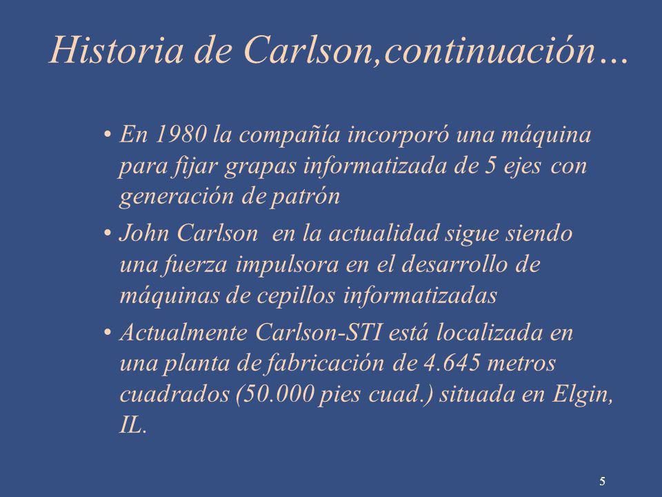 Historia de Carlson,continuación… En 1980 la compañía incorporó una máquina para fijar grapas informatizada de 5 ejes con generación de patrón John Ca