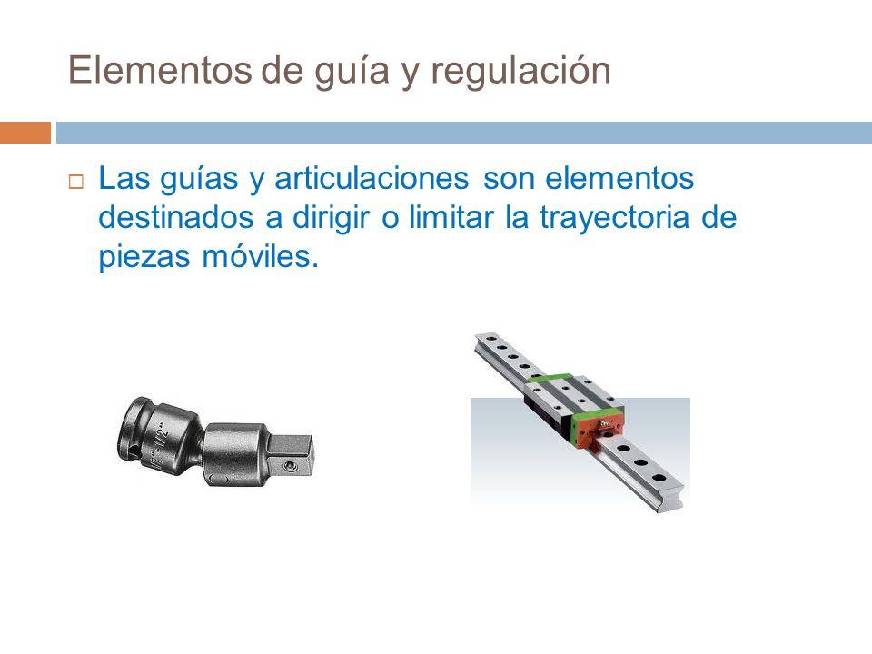 Elementos de guía y regulación Las guías y articulaciones son elementos destinados a dirigir o limitar la trayectoria de piezas móviles.