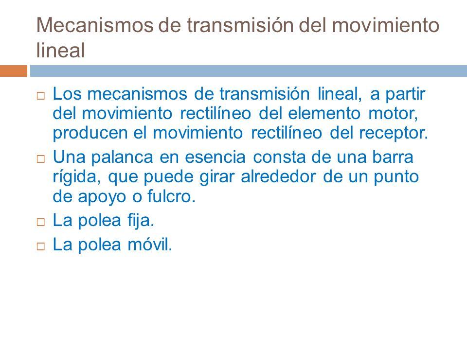 Mecanismos de transmisión del movimiento lineal Los mecanismos de transmisión lineal, a partir del movimiento rectilíneo del elemento motor, producen