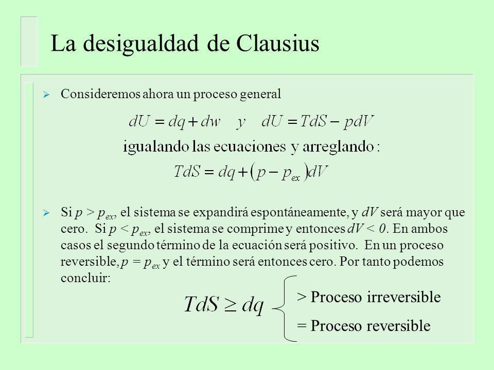 La desigualdad de Clausius Consideremos ahora un proceso general Si p > p ex, el sistema se expandirá espontáneamente, y dV será mayor que cero.