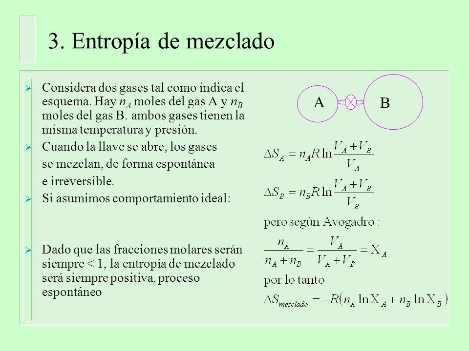 3. Entropía de mezclado Considera dos gases tal como indica el esquema.