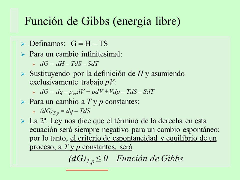 Definamos: G H – TS Para un cambio infinitesimal: » dG = dH – TdS – SdT Sustituyendo por la definición de H y asumiendo exclusivamente trabajo pV: » dG = dq – p ex dV + pdV +Vdp – TdS – SdT Para un cambio a T y p constantes: » (dG) T,p = dq – TdS La 2ª.