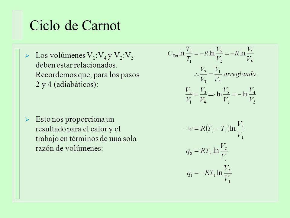 Eficiencia del ciclo de Carnot La eficiencia de una máquina de Carnot es la razón del trabajo neto obtenido (-w) en respuesta a la cantidad de combustible quemado para proveer el calor q: Esta cantidad por supuesto, es óptima para T 2 >> T 1 Revisar los ciclos de Rankine y de Otto.