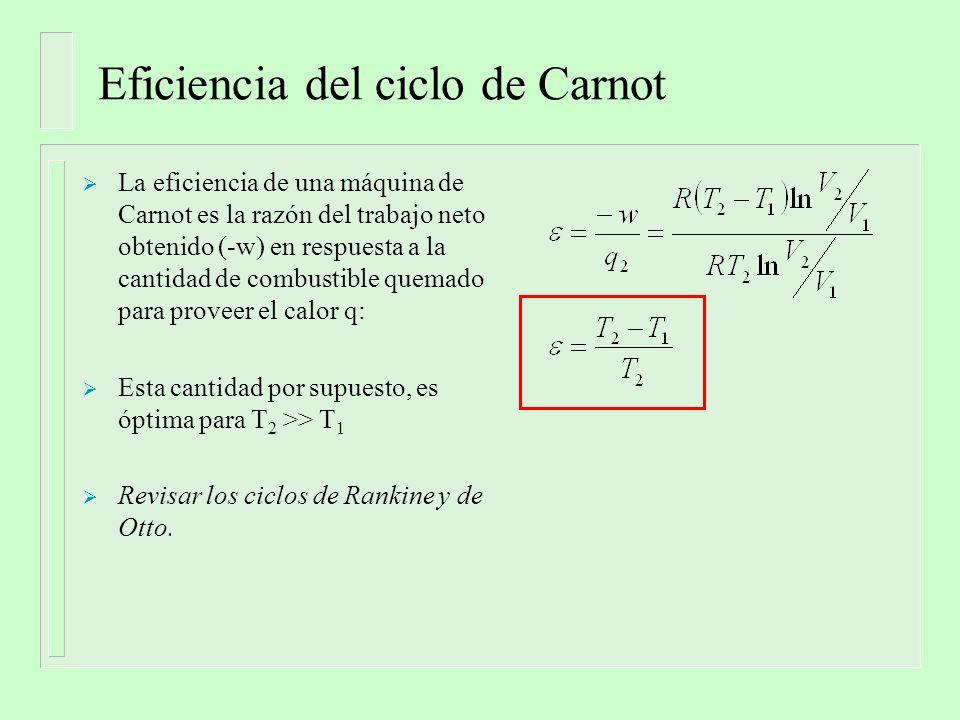Entropía Del ciclo de Carnot obtenemos que Por lo tanto: p V isotermas adiabáticas