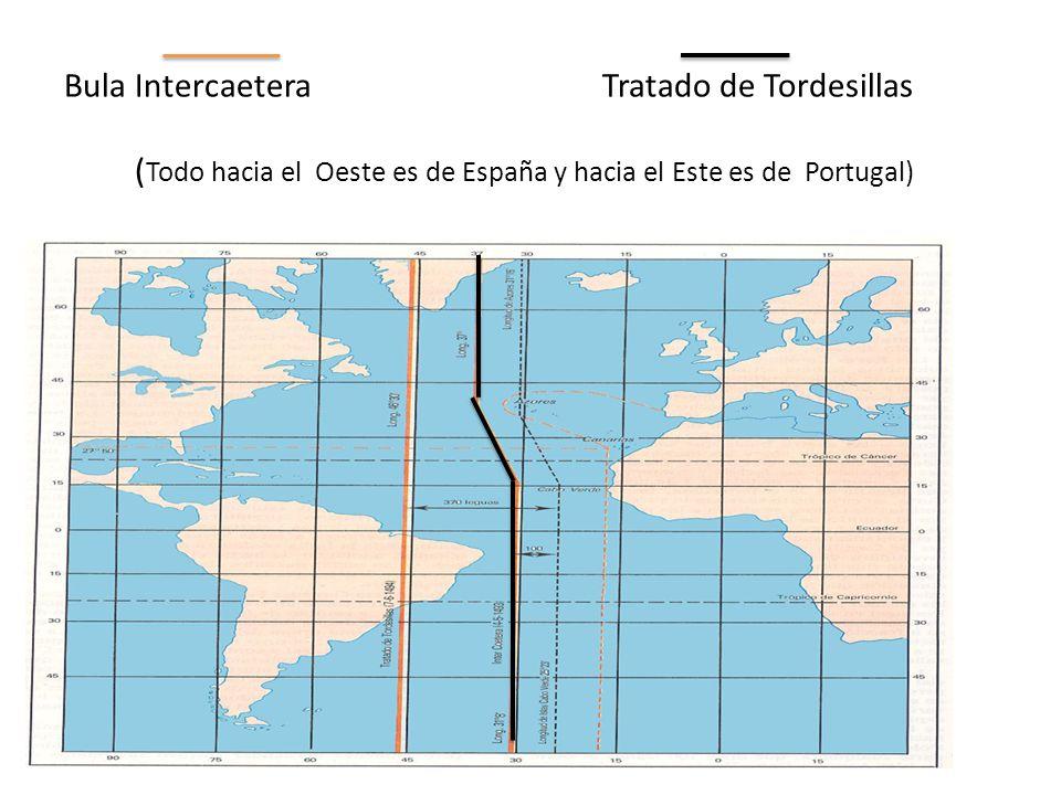 Bula Intercaetera Tratado de Tordesillas ( Todo hacia el Oeste es de España y hacia el Este es de Portugal)