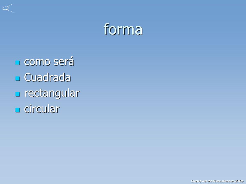 Created with MindGenius Business 2005® forma como será como será Cuadrada Cuadrada rectangular rectangular circular circular