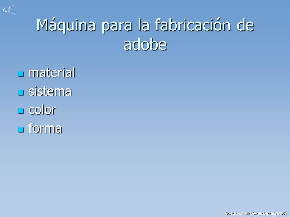 Created with MindGenius Business 2005® Máquina para la fabricación de adobe (Cont.) Lodo Lodo tierra tierra construcción construcción presión presión