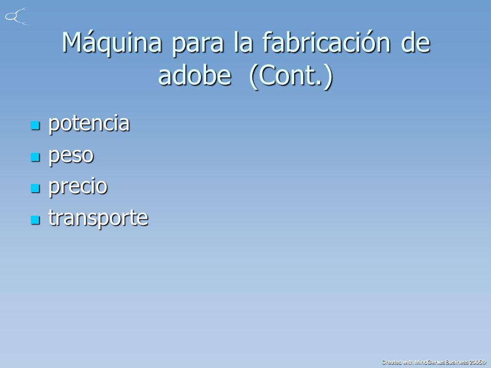 Created with MindGenius Business 2005® Máquina para la fabricación de adobe (Cont.) potencia potencia peso peso precio precio transporte transporte