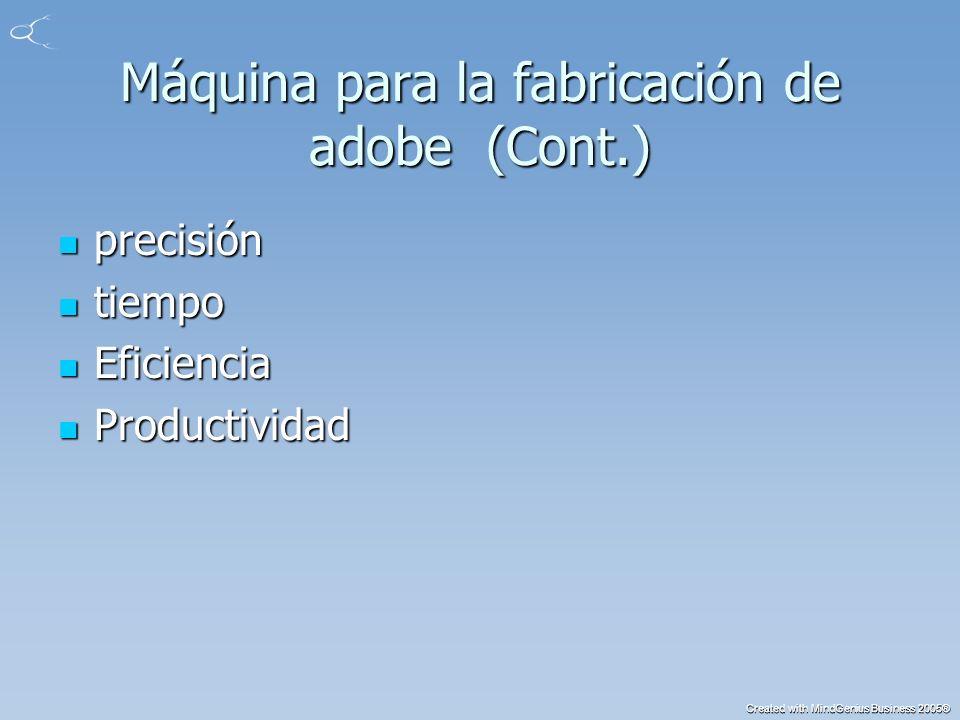 Created with MindGenius Business 2005® Máquina para la fabricación de adobe (Cont.) precisión precisión tiempo tiempo Eficiencia Eficiencia Productividad Productividad