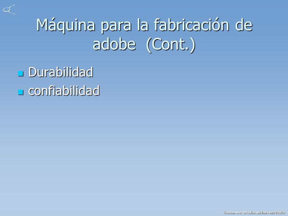 Created with MindGenius Business 2005® Máquina para la fabricación de adobe (Cont.) Durabilidad Durabilidad confiabilidad confiabilidad