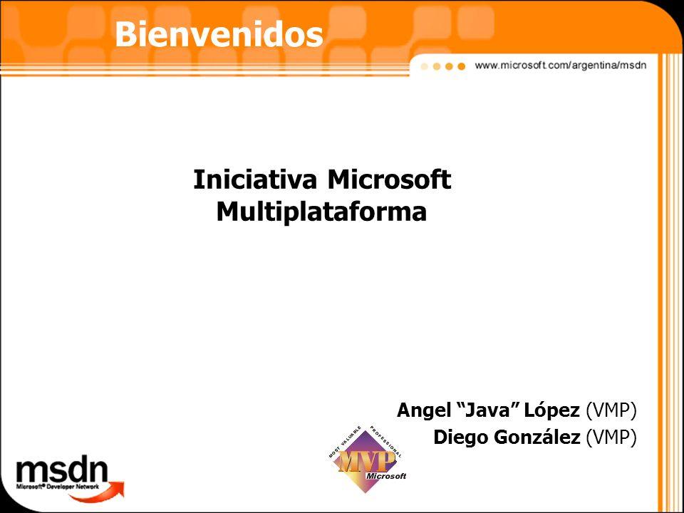 Iniciativa Microsoft Multiplataforma Angel Java López (VMP) Diego González (VMP) Bienvenidos