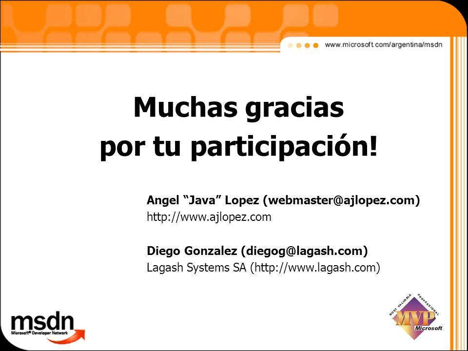 Angel Java Lopez (webmaster@ajlopez.com) http://www.ajlopez.com Diego Gonzalez (diegog@lagash.com) Lagash Systems SA (http://www.lagash.com) Muchas gr