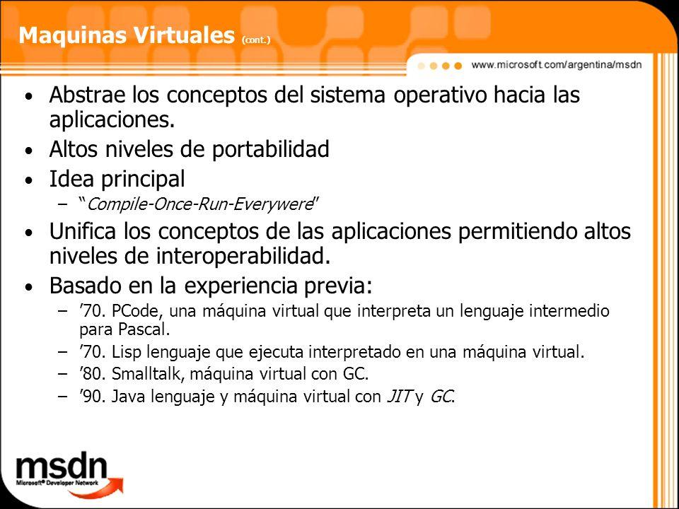 Maquinas Virtuales (cont.) Abstrae los conceptos del sistema operativo hacia las aplicaciones. Altos niveles de portabilidad Idea principal –Compile-O