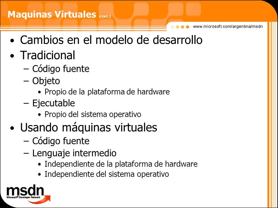Maquinas Virtuales (cont.) Cambios en el modelo de desarrollo Tradicional –Código fuente –Objeto Propio de la plataforma de hardware –Ejecutable Propi