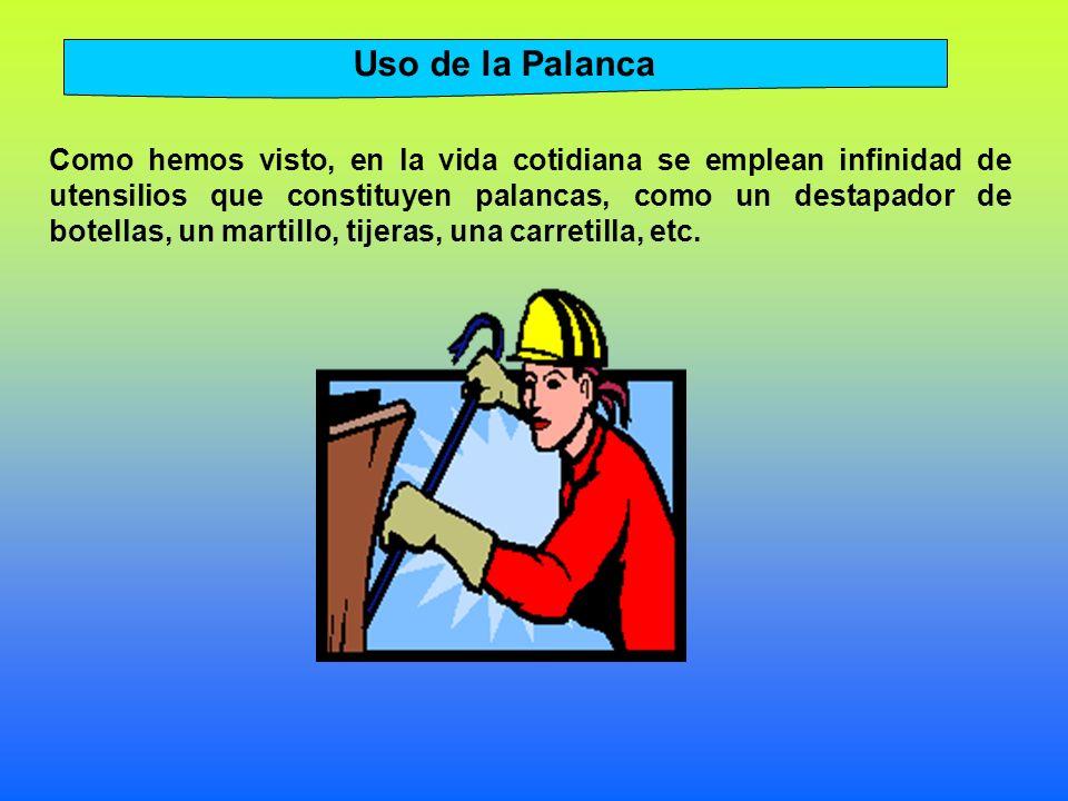 Uso de la Palanca Como hemos visto, en la vida cotidiana se emplean infinidad de utensilios que constituyen palancas, como un destapador de botellas, un martillo, tijeras, una carretilla, etc.