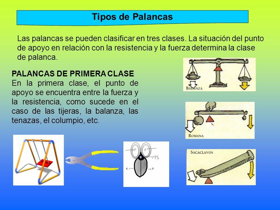 Las palancas se pueden clasificar en tres clases.