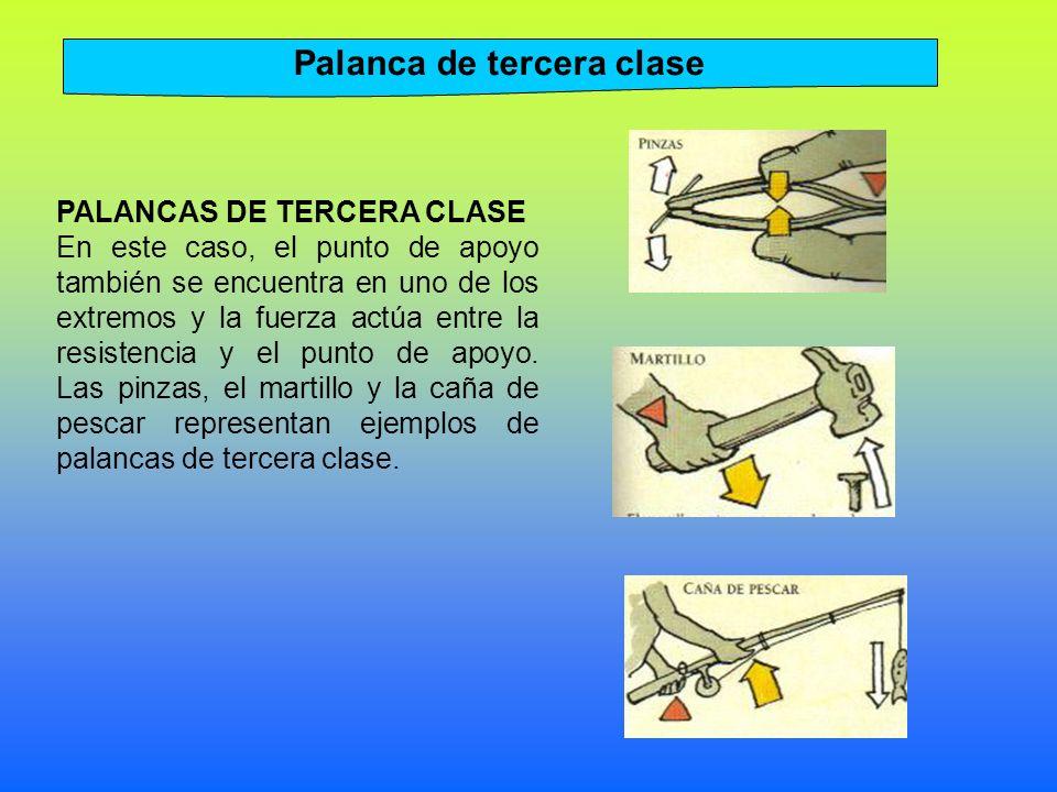 PALANCAS DE TERCERA CLASE En este caso, el punto de apoyo también se encuentra en uno de los extremos y la fuerza actúa entre la resistencia y el punto de apoyo.