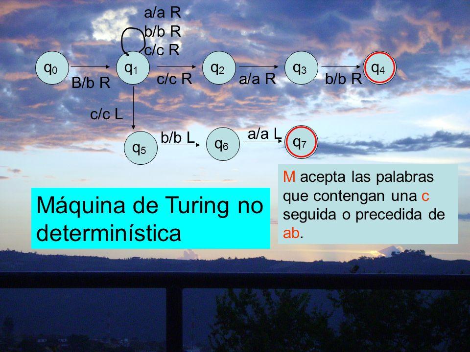 q0q0 q1q1 q2q2 q3q3 q4q4 B/b R a/a R b/b R c/c R c/c Ra/a Rb/b R q7q7 c/c L q5q5 q6q6 b/b L a/a L Máquina de Turing no determinística M acepta las pal