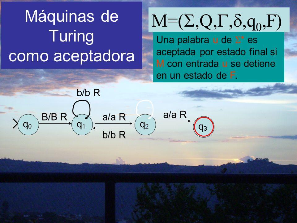 Máquinas de Turing como aceptadora M=(,Q,,,q 0,F) Una palabra u de * es aceptada por estado final si M con entrada u se detiene en un estado de F. q0q