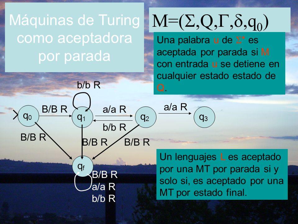 M=(,Q,,,q 0 ) Una palabra u de * es aceptada por parada si M con entrada u se detiene en cualquier estado estado de Q. q0q0 q1q1 q2q2 q3q3 B/B R b/b R