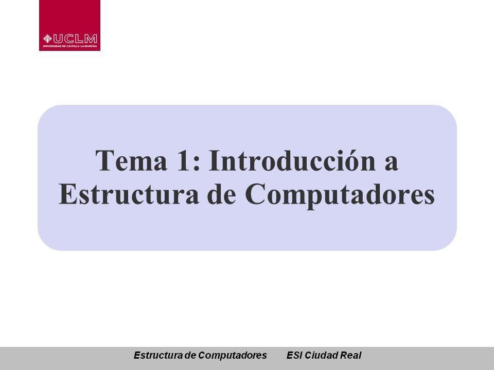 Tema 1: Introducción a Estructura de Computadores Conceptos básicos y visión histórica