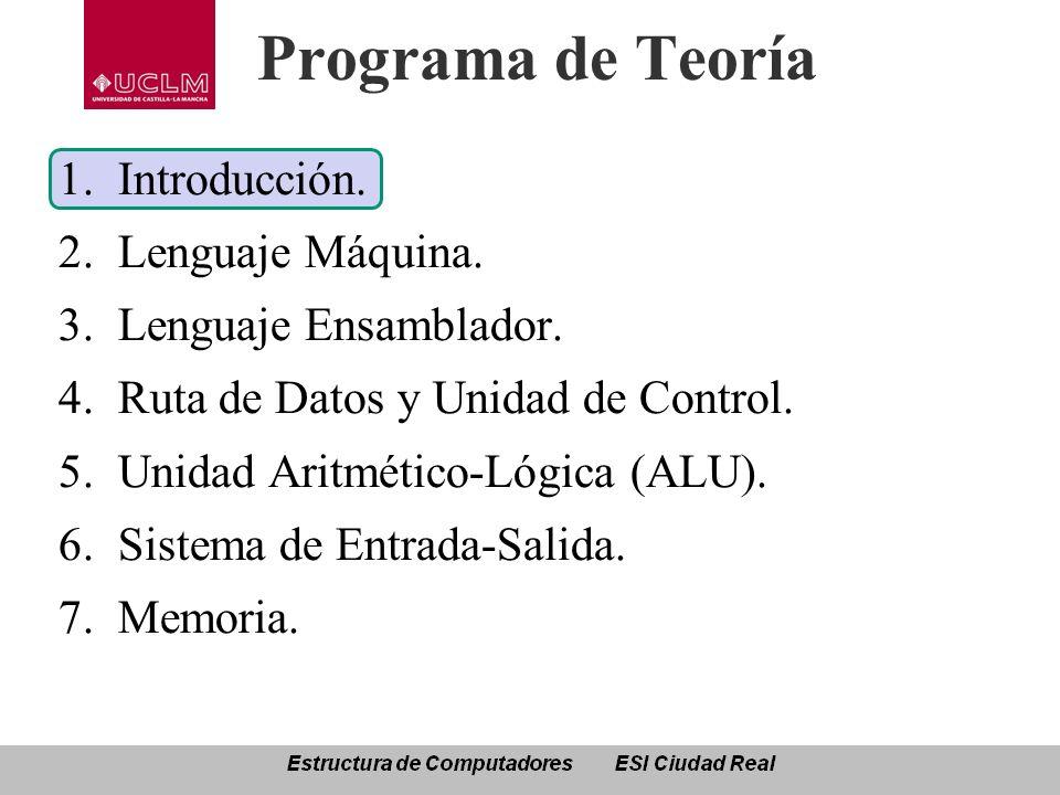 Programa de Teoría 1.Introducción. 2.Lenguaje Máquina. 3.Lenguaje Ensamblador. 4.Ruta de Datos y Unidad de Control. 5.Unidad Aritmético-Lógica (ALU).