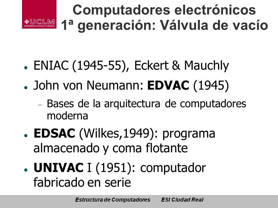 Computadores electrónicos 1ª generación: Válvula de vacío ENIAC (1945-55), Eckert & Mauchly John von Neumann: EDVAC (1945) Bases de la arquitectura de