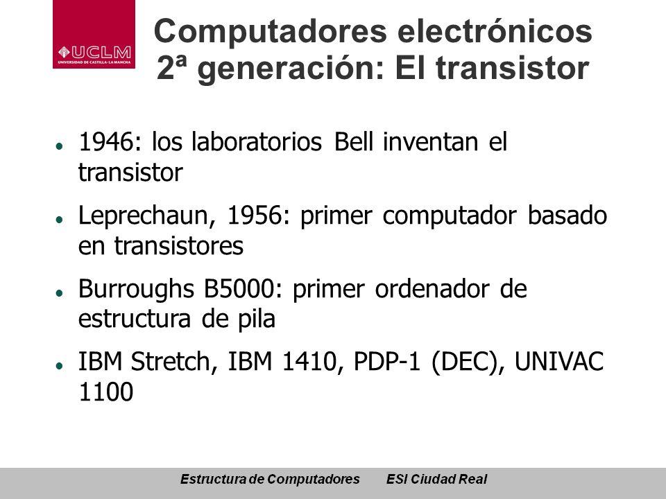 Computadores electrónicos 2ª generación: El transistor 1946: los laboratorios Bell inventan el transistor Leprechaun, 1956: primer computador basado e