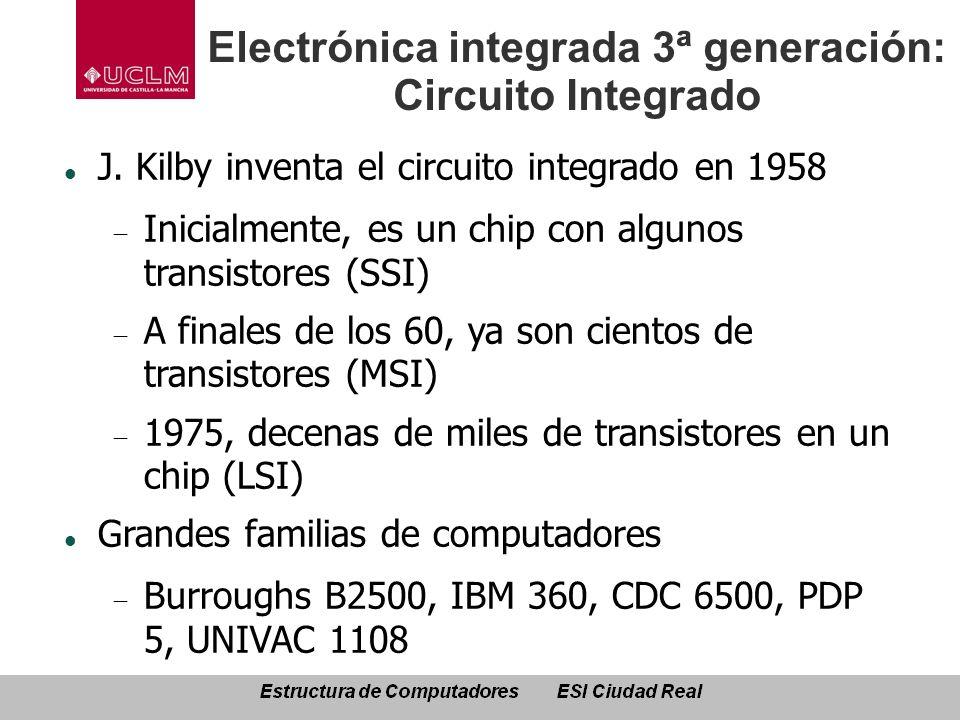 Electrónica integrada 3ª generación: Circuito Integrado J. Kilby inventa el circuito integrado en 1958 Inicialmente, es un chip con algunos transistor