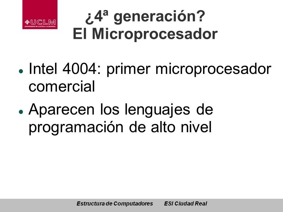 ¿4ª generación? El Microprocesador Intel 4004: primer microprocesador comercial Aparecen los lenguajes de programación de alto nivel