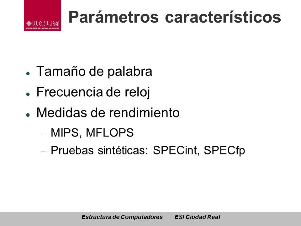 Parámetros característicos Tamaño de palabra Frecuencia de reloj Medidas de rendimiento MIPS, MFLOPS Pruebas sintéticas: SPECint, SPECfp